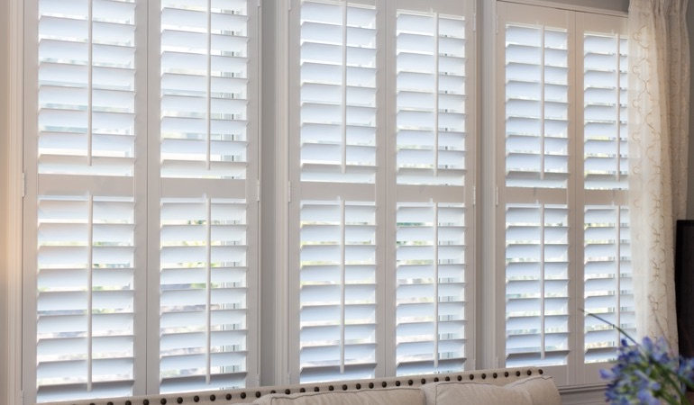 Faux wood plantation shutters in Sacramento